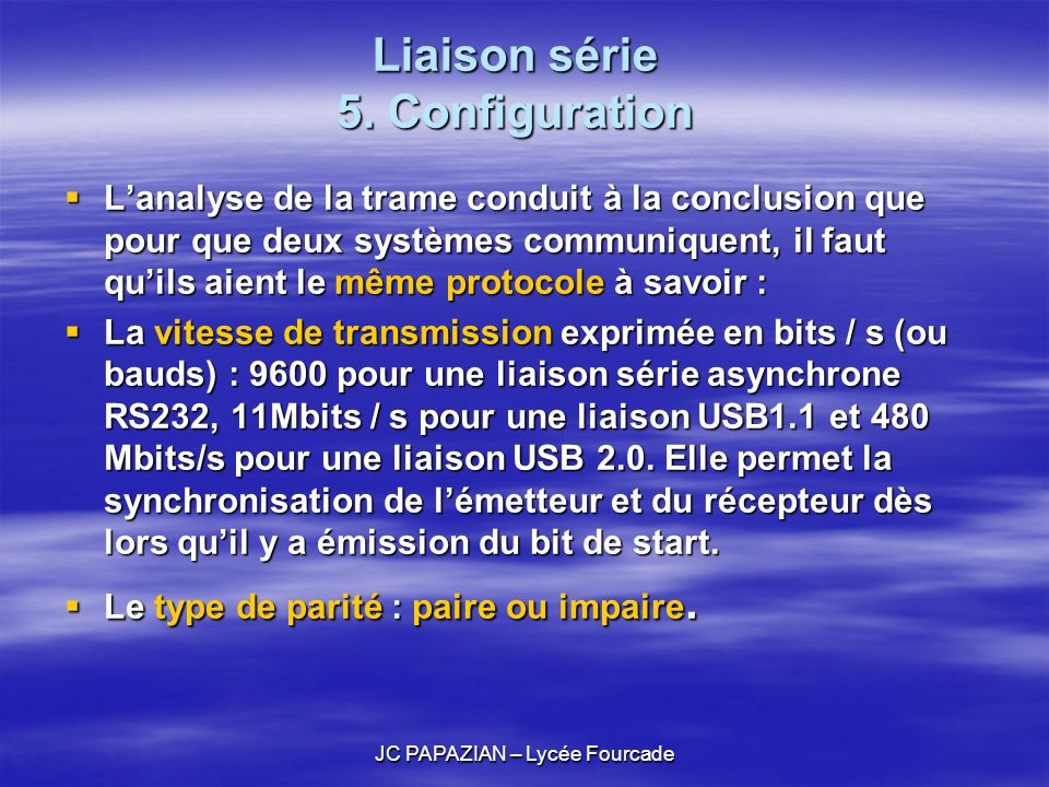 Liaison série 5. Configuration