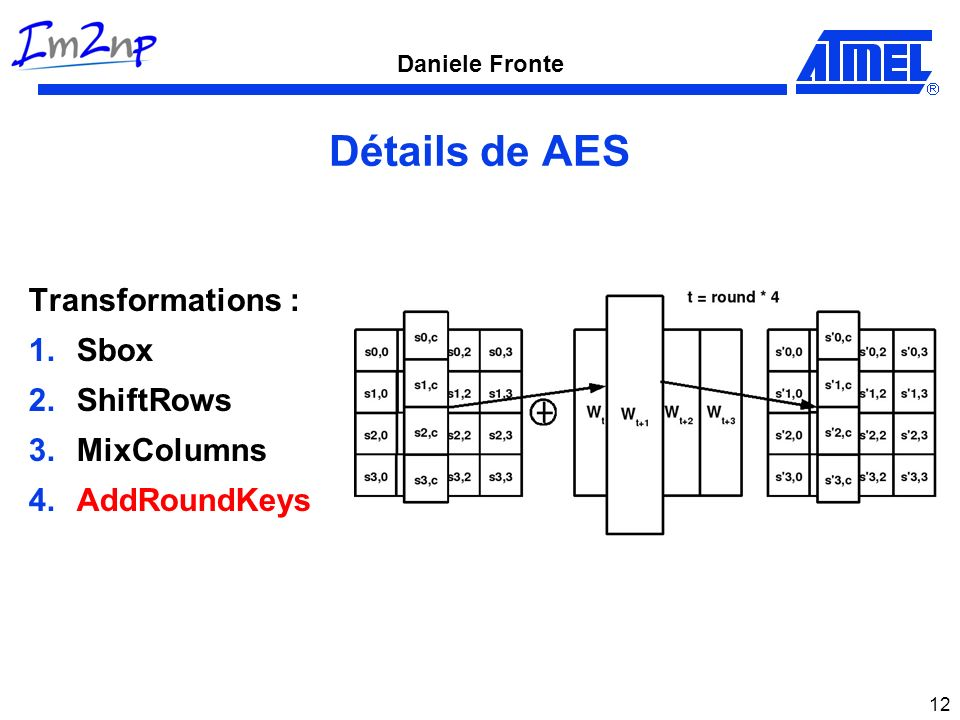 Détails de AES Transformations : Sbox ShiftRows MixColumns