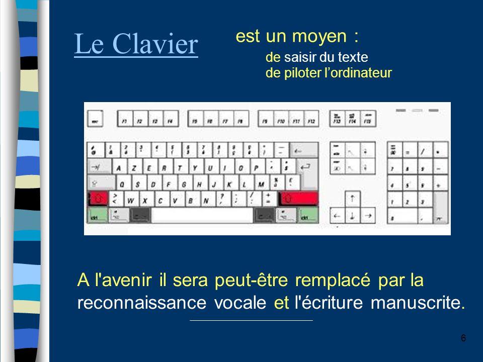 Le Clavier est un moyen : de saisir du texte de piloter l'ordinateur