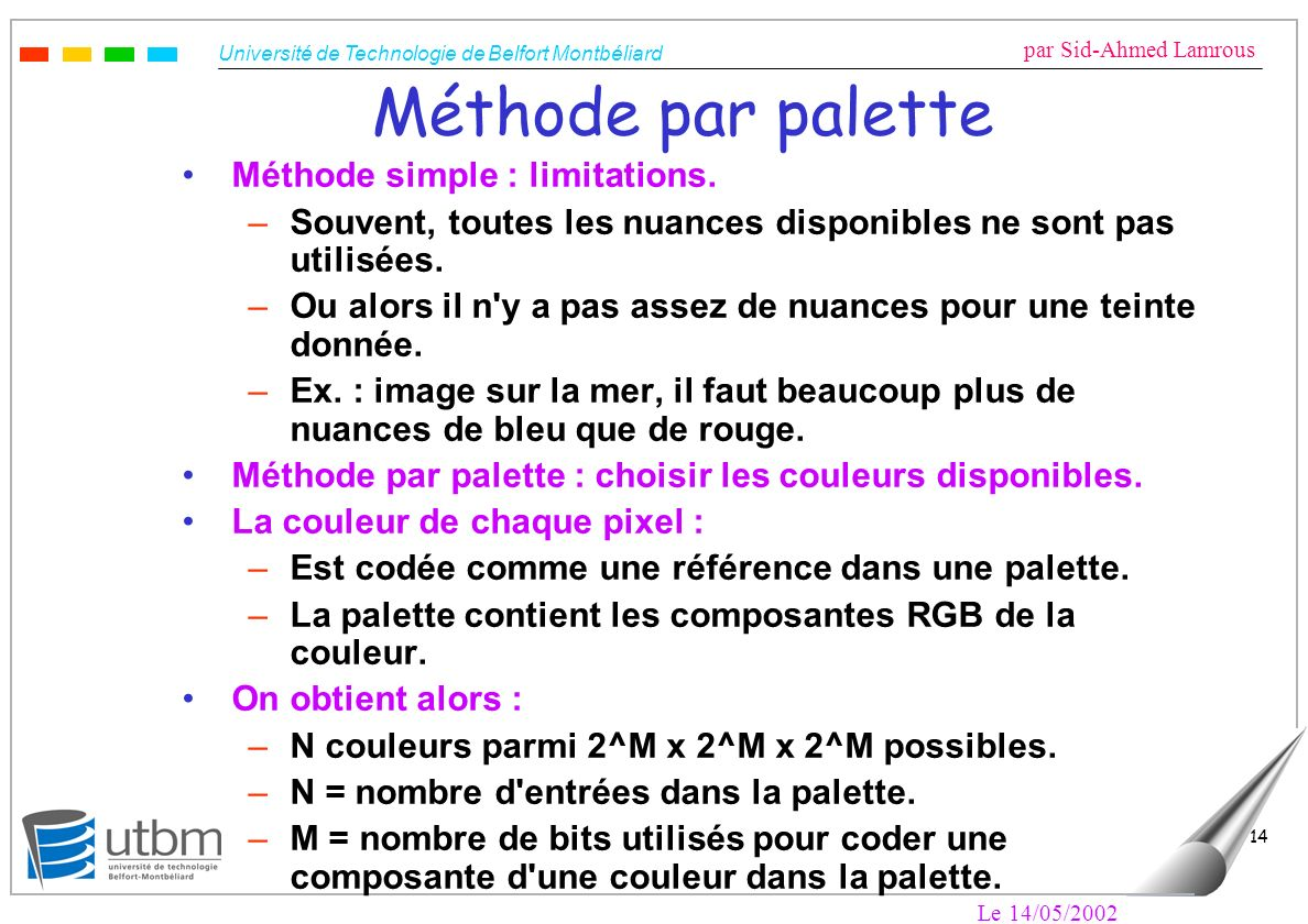 Méthode par palette Méthode simple : limitations.