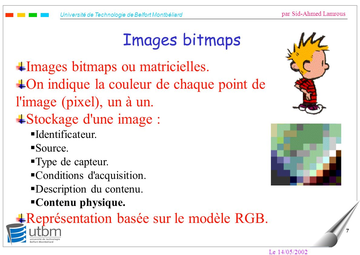 Images bitmaps Images bitmaps ou matricielles.