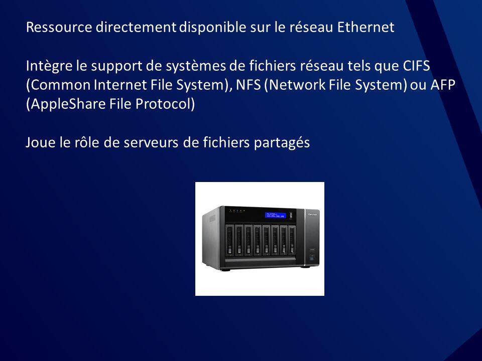 NAS Ressource directement disponible sur le réseau Ethernet.
