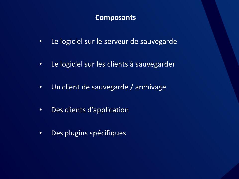 Composants Le logiciel sur le serveur de sauvegarde. Le logiciel sur les clients à sauvegarder. Un client de sauvegarde / archivage.