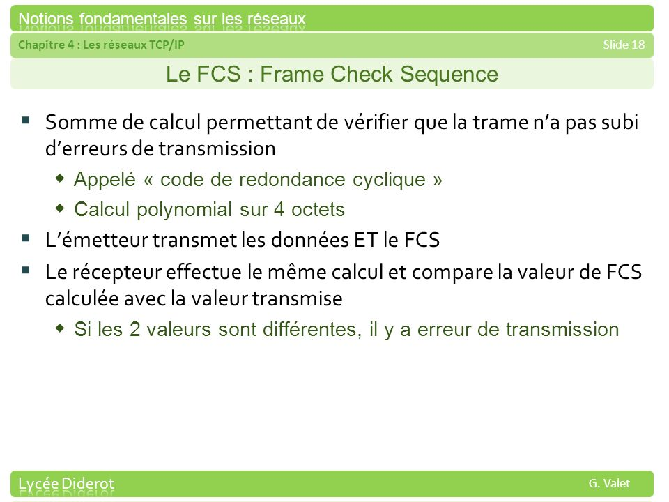 Le FCS : Frame Check Sequence