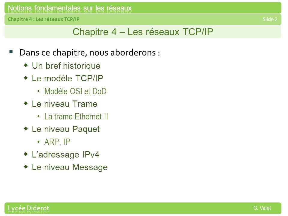 Chapitre 4 – Les réseaux TCP/IP