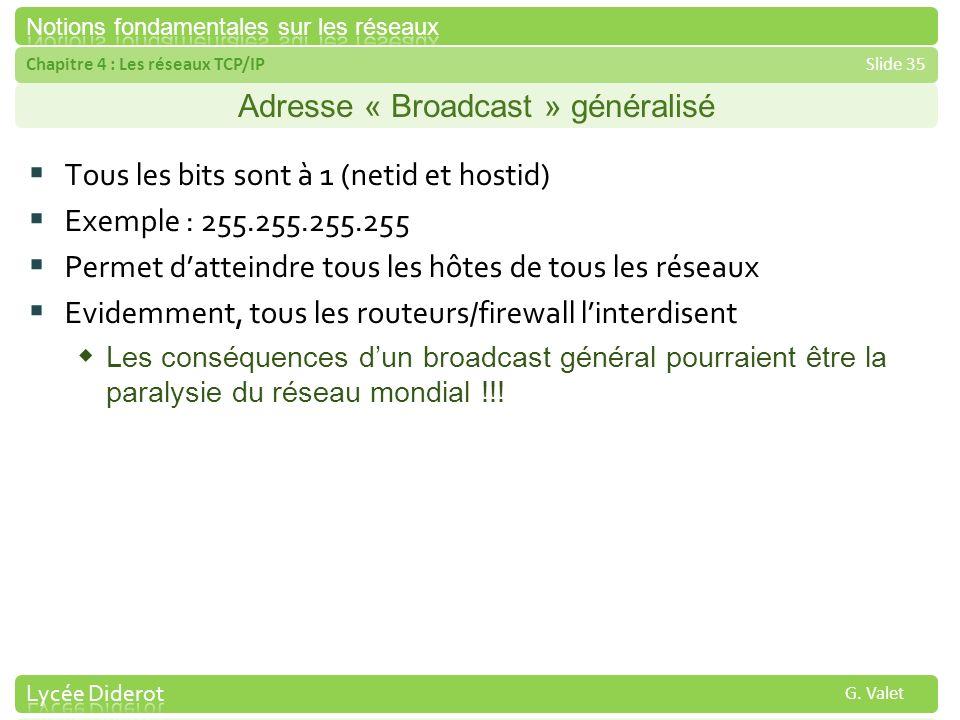 Adresse « Broadcast » généralisé