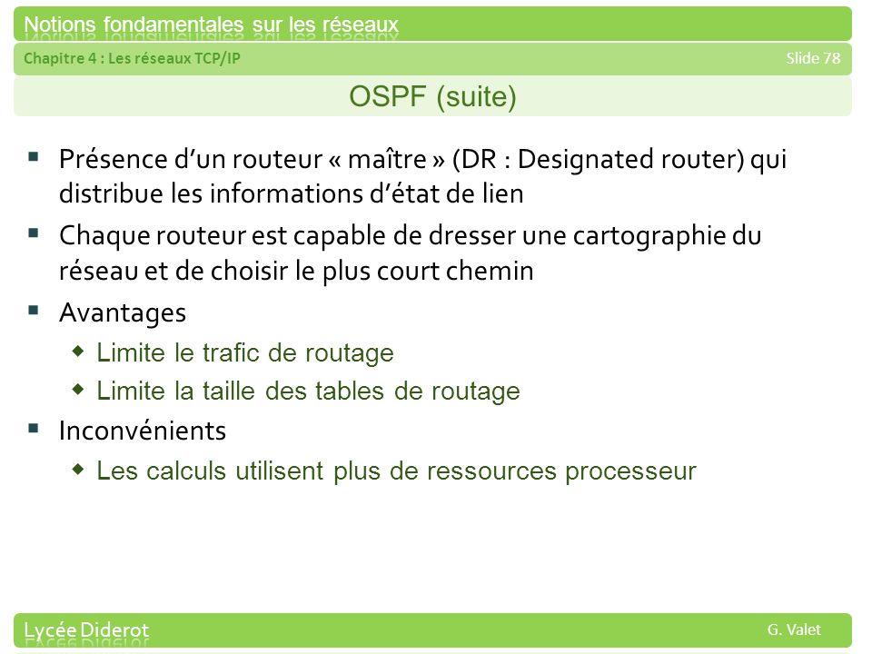 OSPF (suite) Présence d'un routeur « maître » (DR : Designated router) qui distribue les informations d'état de lien.