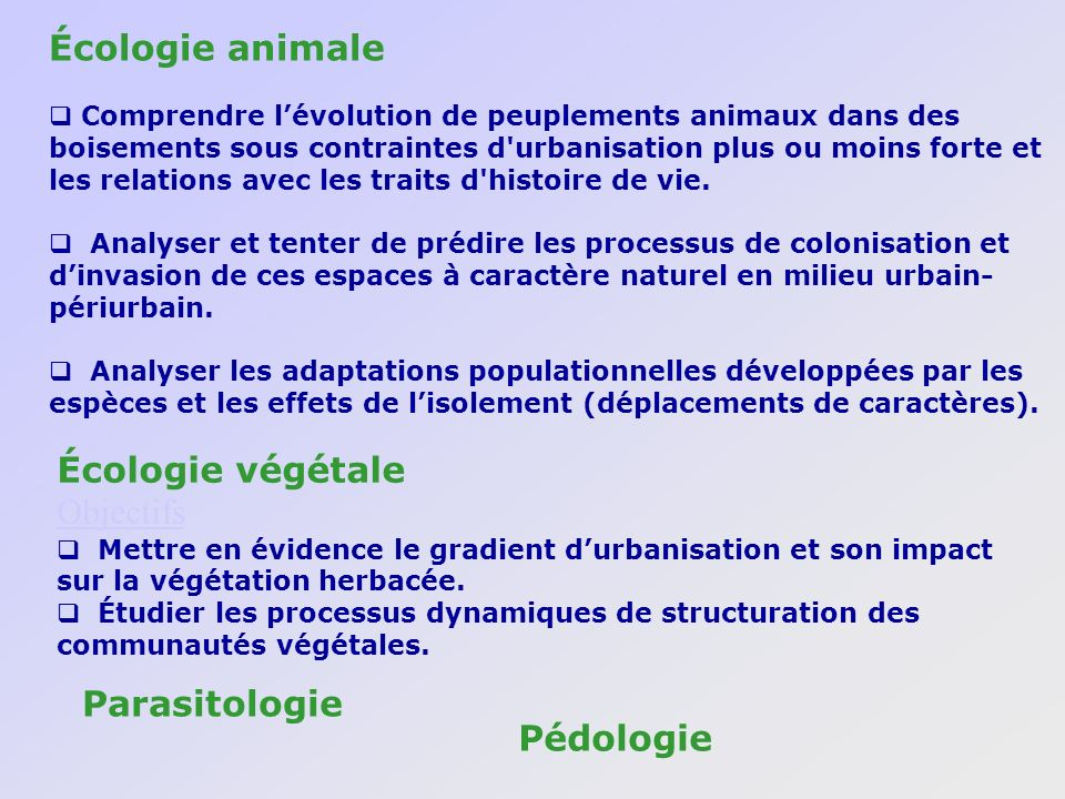 Écologie animale Écologie végétale Objectifs Parasitologie Pédologie