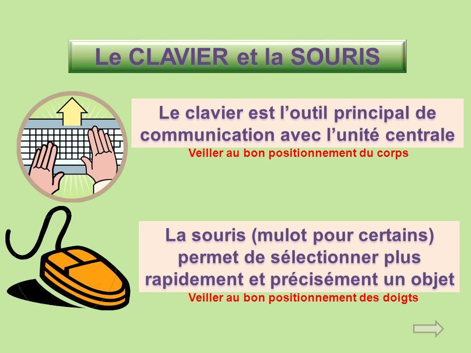 Le CLAVIER et la SOURIS Le clavier est l'outil principal de communication avec l'unité centrale. Veiller au bon positionnement du corps.