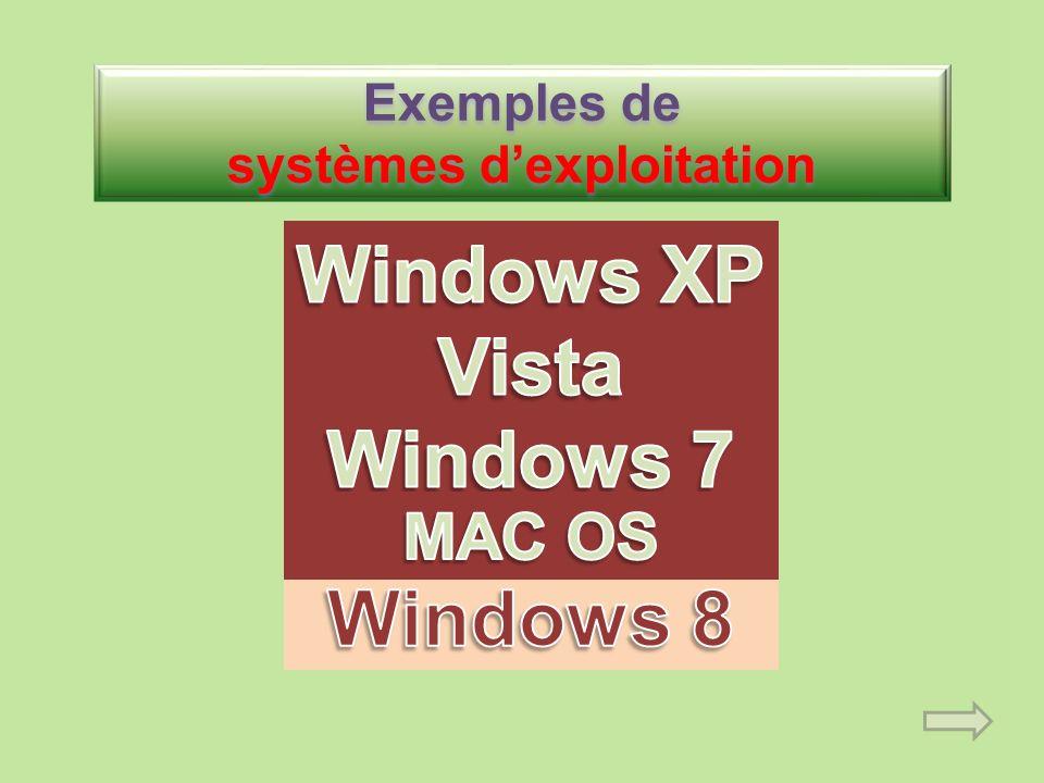 Exemples de systèmes d'exploitation
