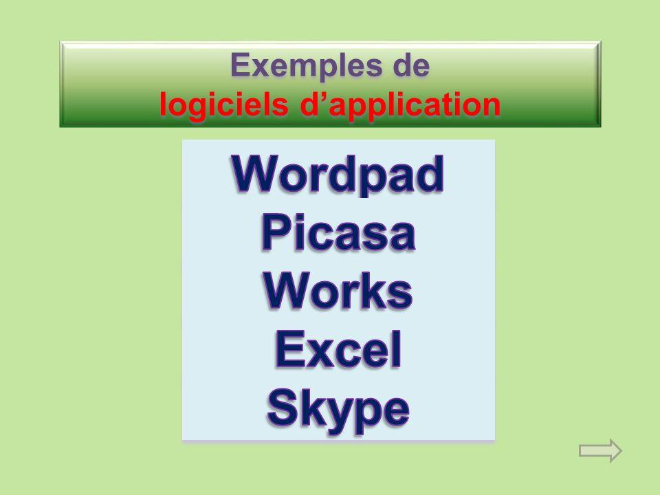 Exemples de logiciels d'application