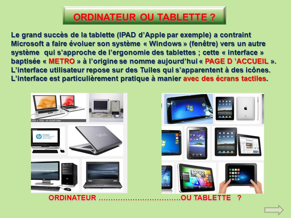 ORDINATEUR OU TABLETTE ORDINATEUR …………………………….OU TABLETTE