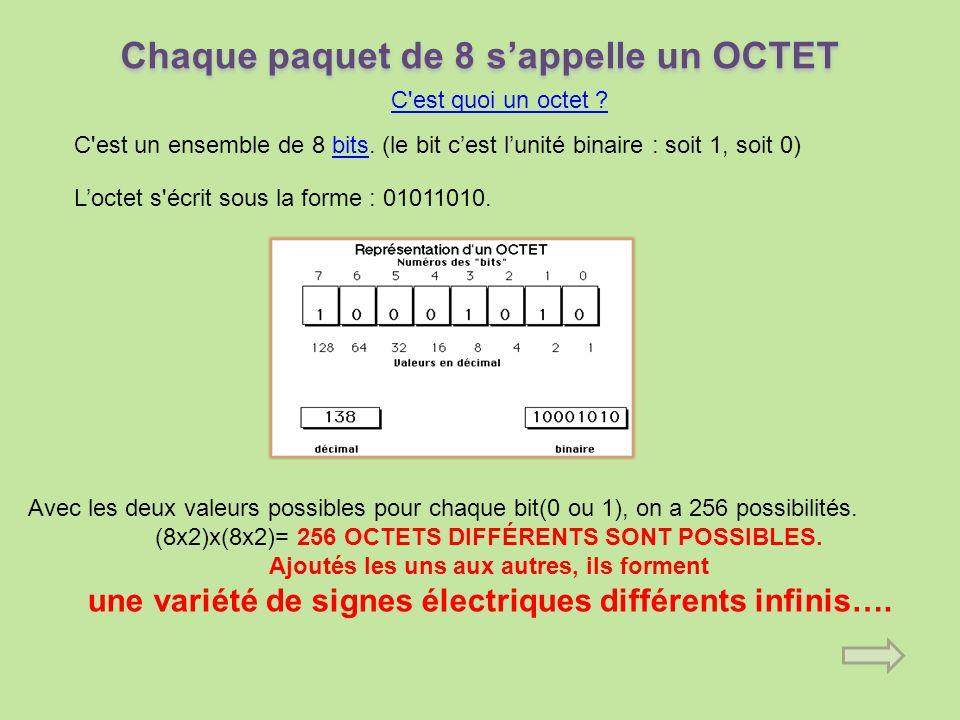 Chaque paquet de 8 s'appelle un OCTET