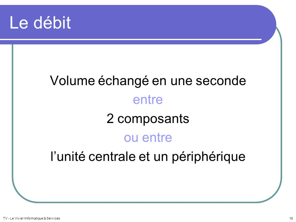 Le débit Volume échangé en une seconde entre 2 composants ou entre l'unité centrale et un périphérique