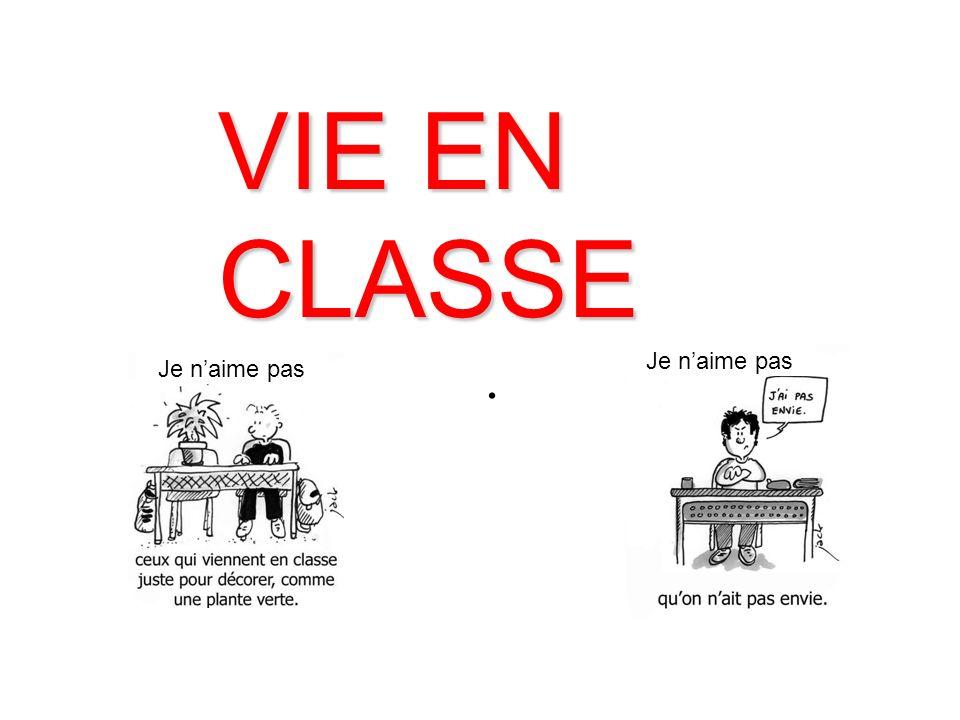 VIE EN CLASSE . Je n'aime pas Je n'aime pas