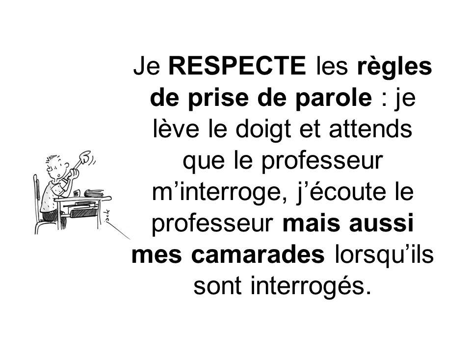 Je RESPECTE les règles de prise de parole : je lève le doigt et attends que le professeur m'interroge, j'écoute le professeur mais aussi mes camarades lorsqu'ils sont interrogés.