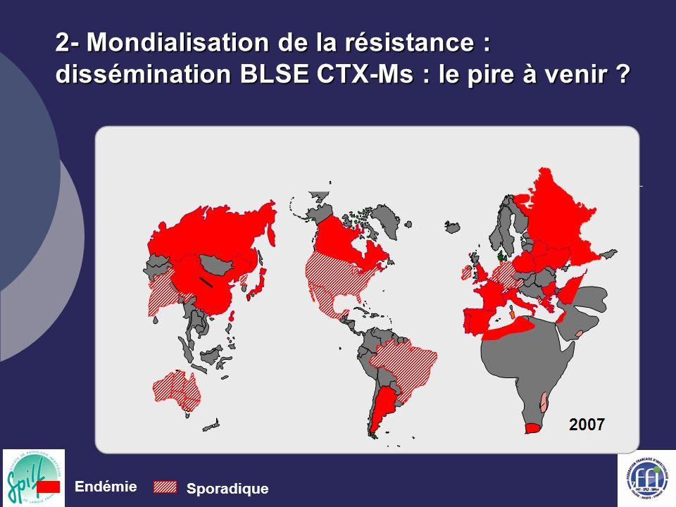 2- Mondialisation de la résistance : dissémination BLSE CTX-Ms : le pire à venir