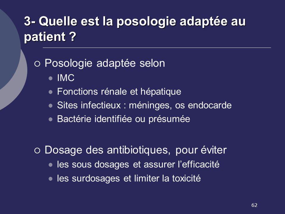 3- Quelle est la posologie adaptée au patient