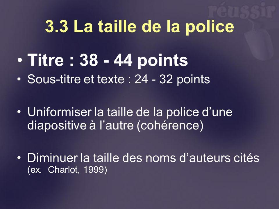 3.3 La taille de la police Titre : 38 - 44 points