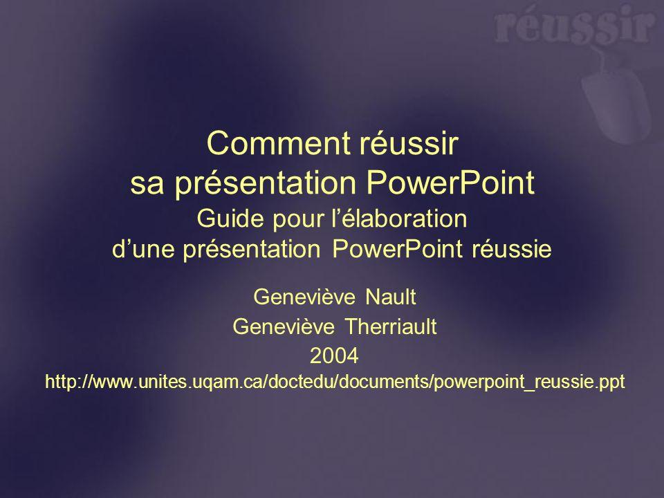 Comment réussir sa présentation PowerPoint Guide pour l'élaboration d'une présentation PowerPoint réussie