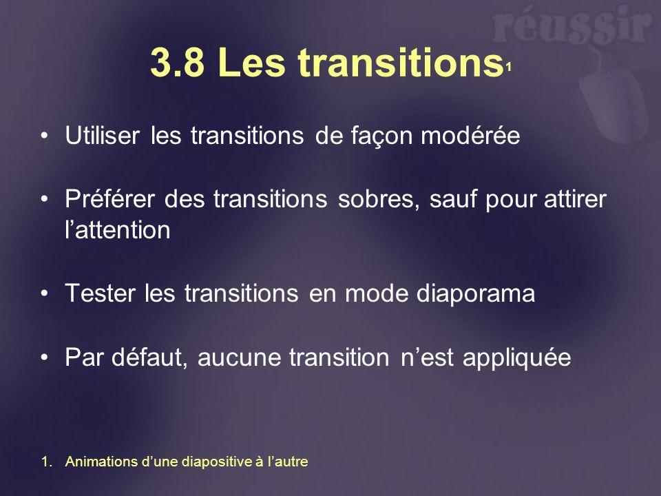 3.8 Les transitions1 Utiliser les transitions de façon modérée