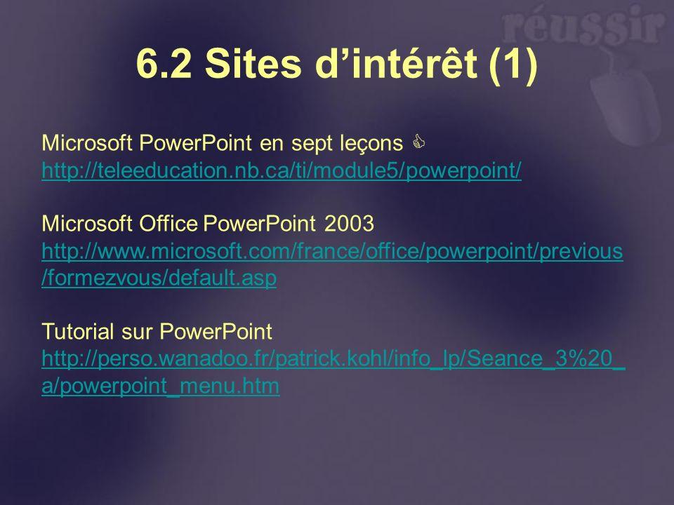 6.2 Sites d'intérêt (1) Microsoft PowerPoint en sept leçons 