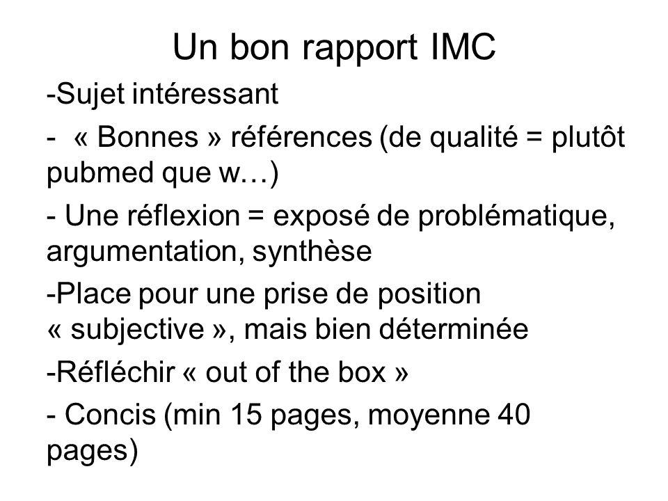 Un bon rapport IMC Sujet intéressant