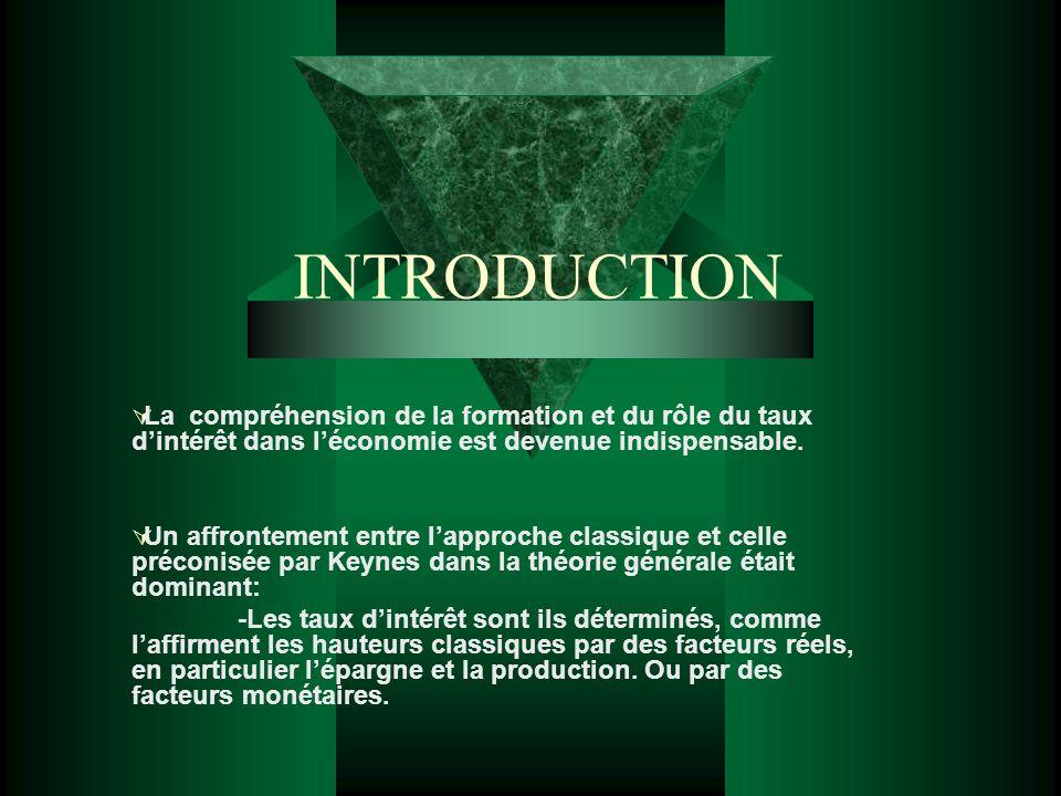 INTRODUCTION La compréhension de la formation et du rôle du taux d'intérêt dans l'économie est devenue indispensable.