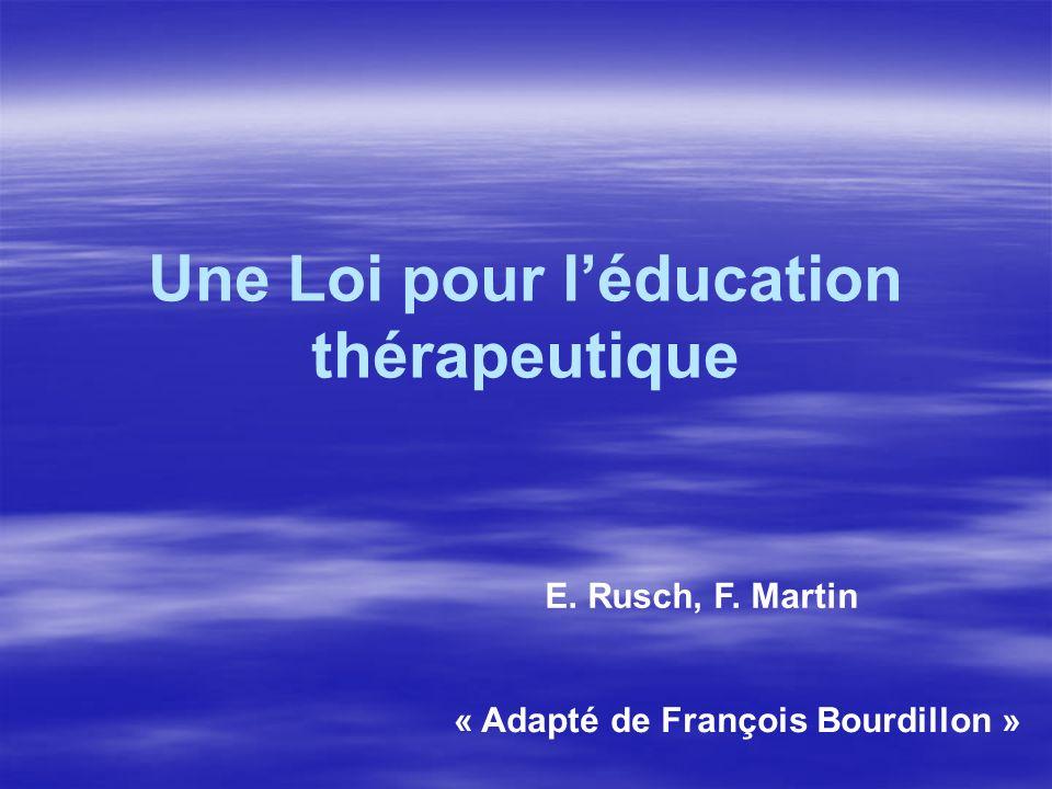Une Loi pour l'éducation thérapeutique