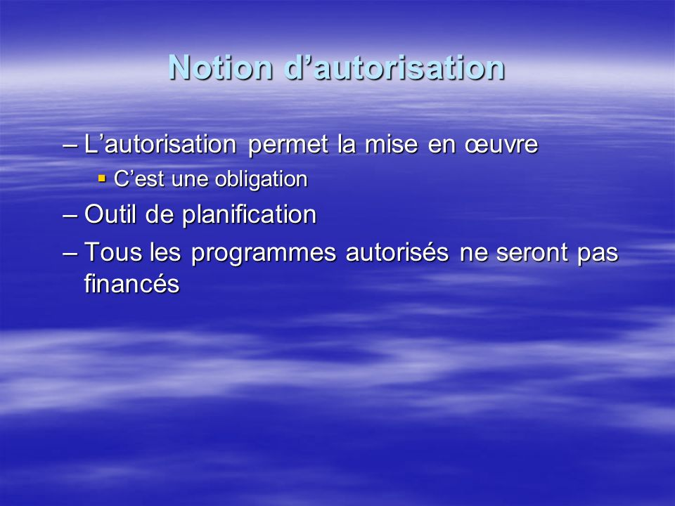 Notion d'autorisation