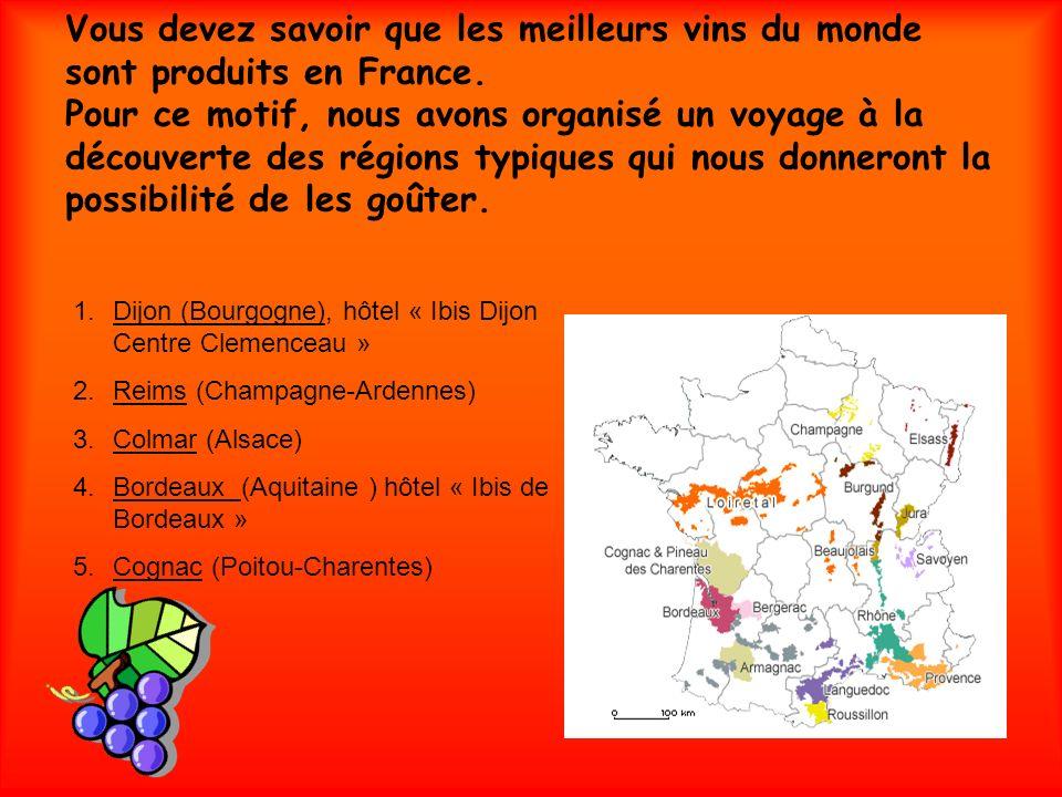 Vous devez savoir que les meilleurs vins du monde sont produits en France. Pour ce motif, nous avons organisé un voyage à la découverte des régions typiques qui nous donneront la possibilité de les goûter.