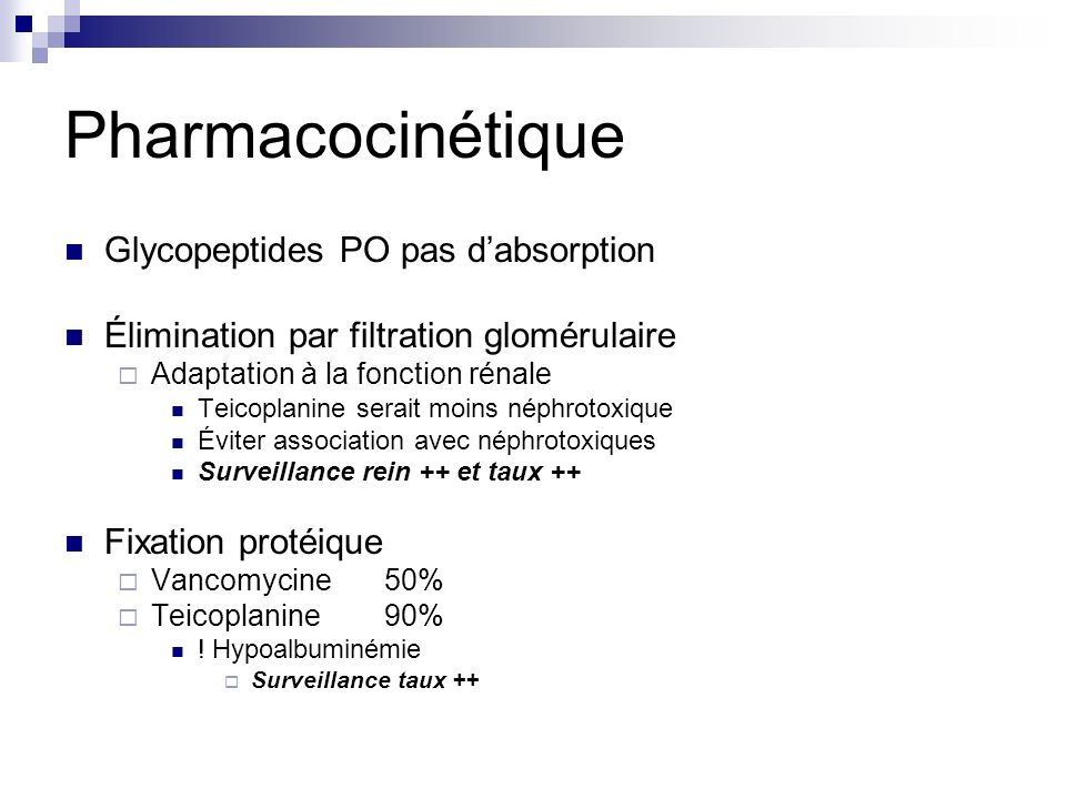 Pharmacocinétique Glycopeptides PO pas d'absorption