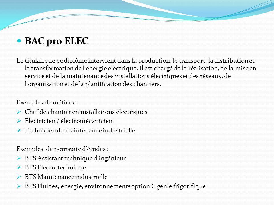BAC pro ELEC
