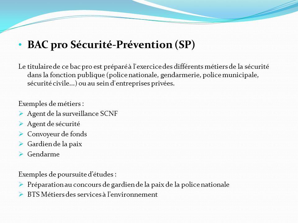 BAC pro Sécurité-Prévention (SP)