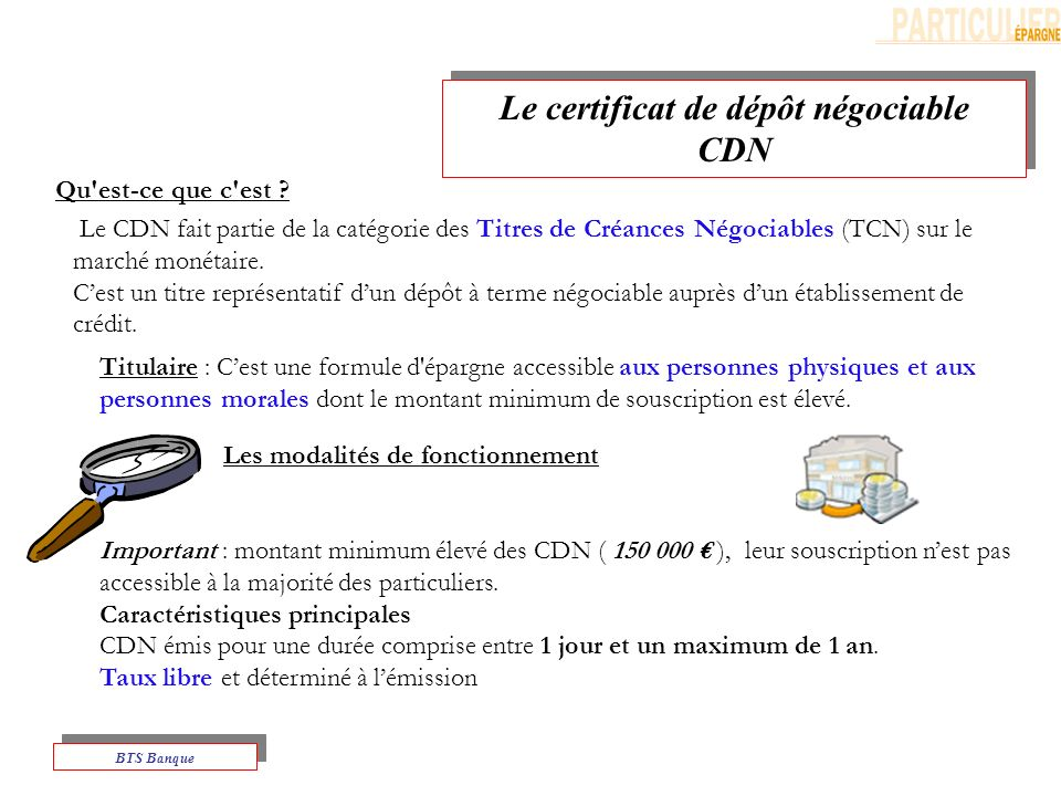 Le certificat de dépôt négociable