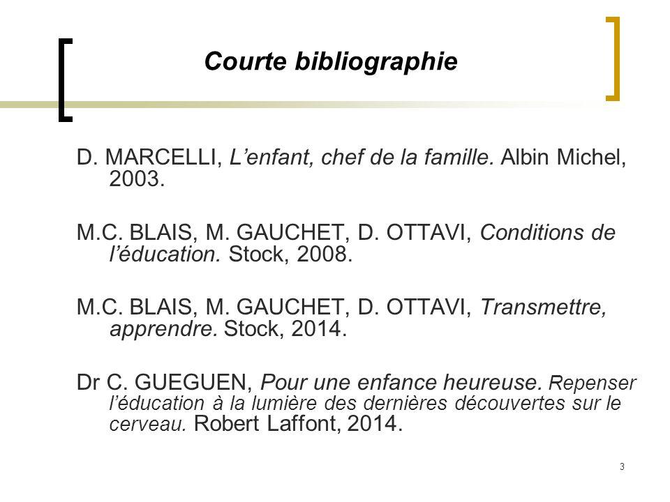 Courte bibliographie D. MARCELLI, L'enfant, chef de la famille. Albin Michel, 2003.