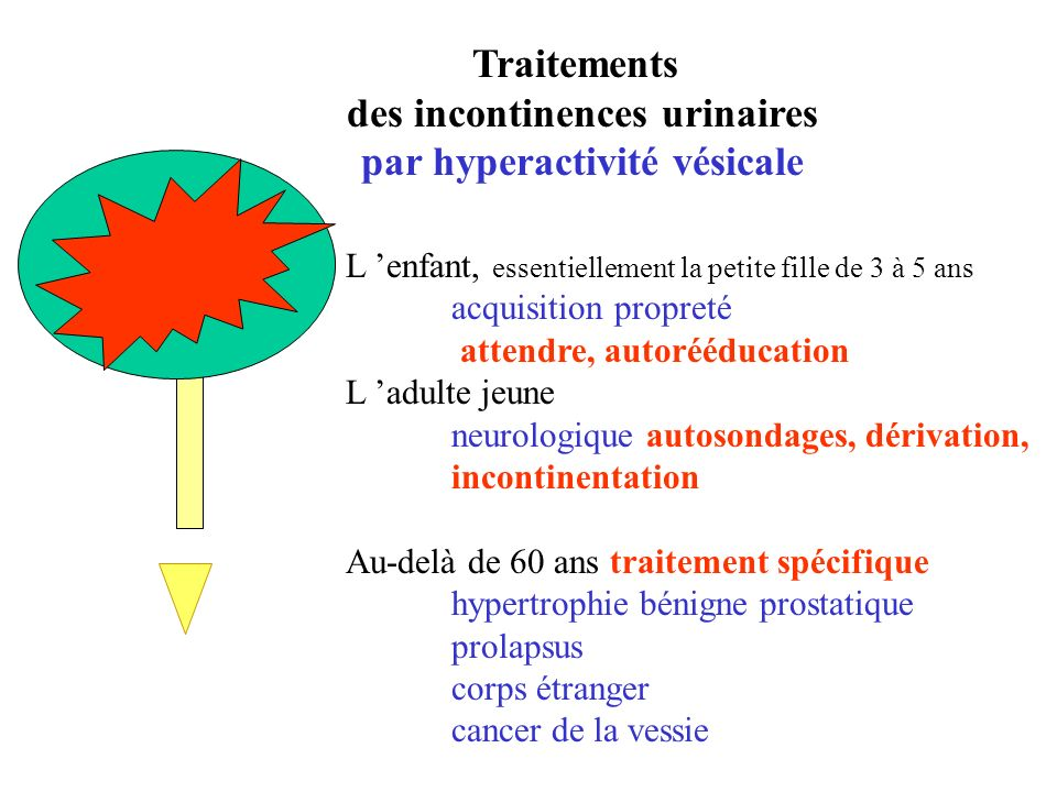 des incontinences urinaires par hyperactivité vésicale