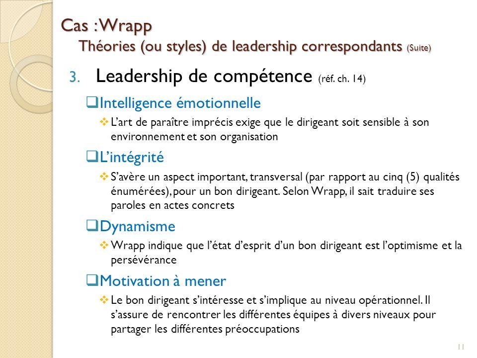 Cas : Wrapp Théories (ou styles) de leadership correspondants (Suite)