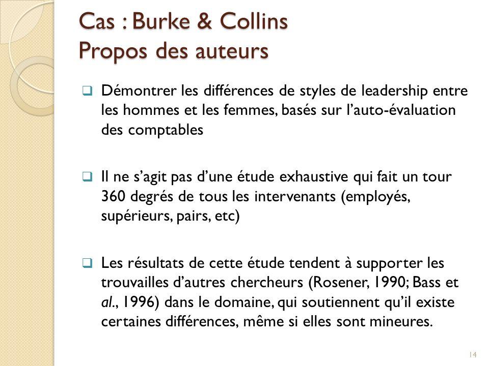 Cas : Burke & Collins Propos des auteurs