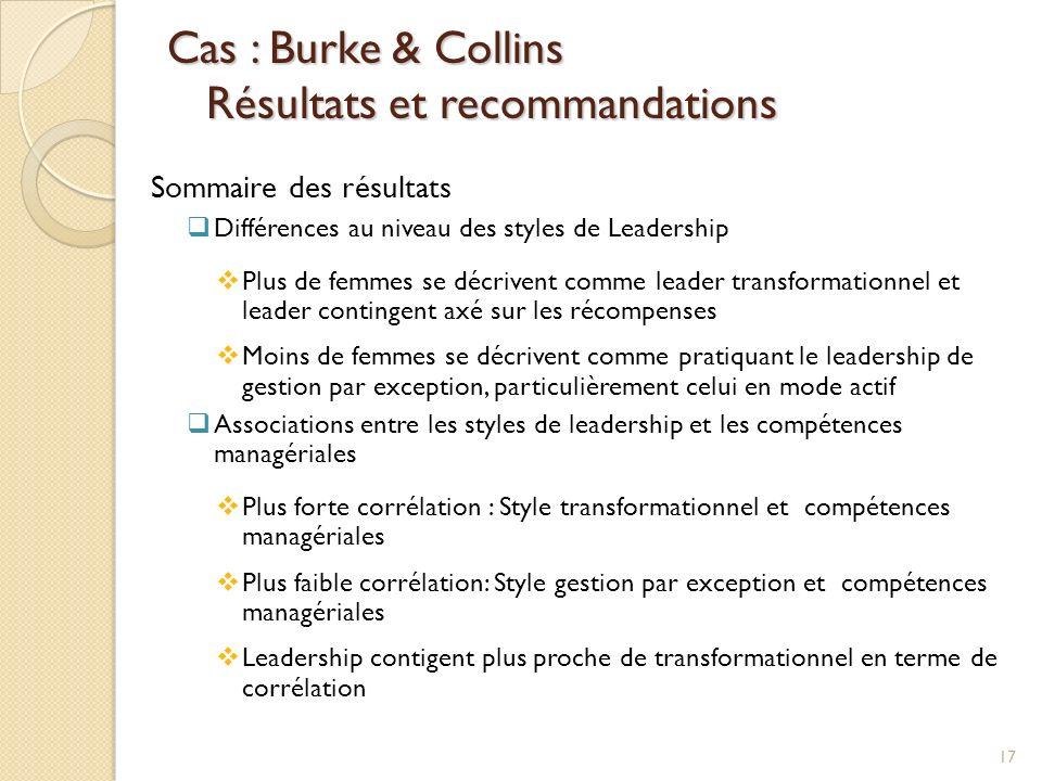 Cas : Burke & Collins Résultats et recommandations
