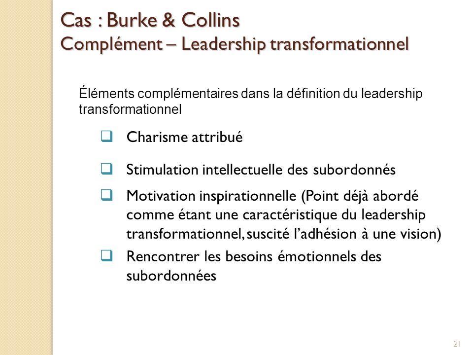 Cas : Burke & Collins Complément – Leadership transformationnel