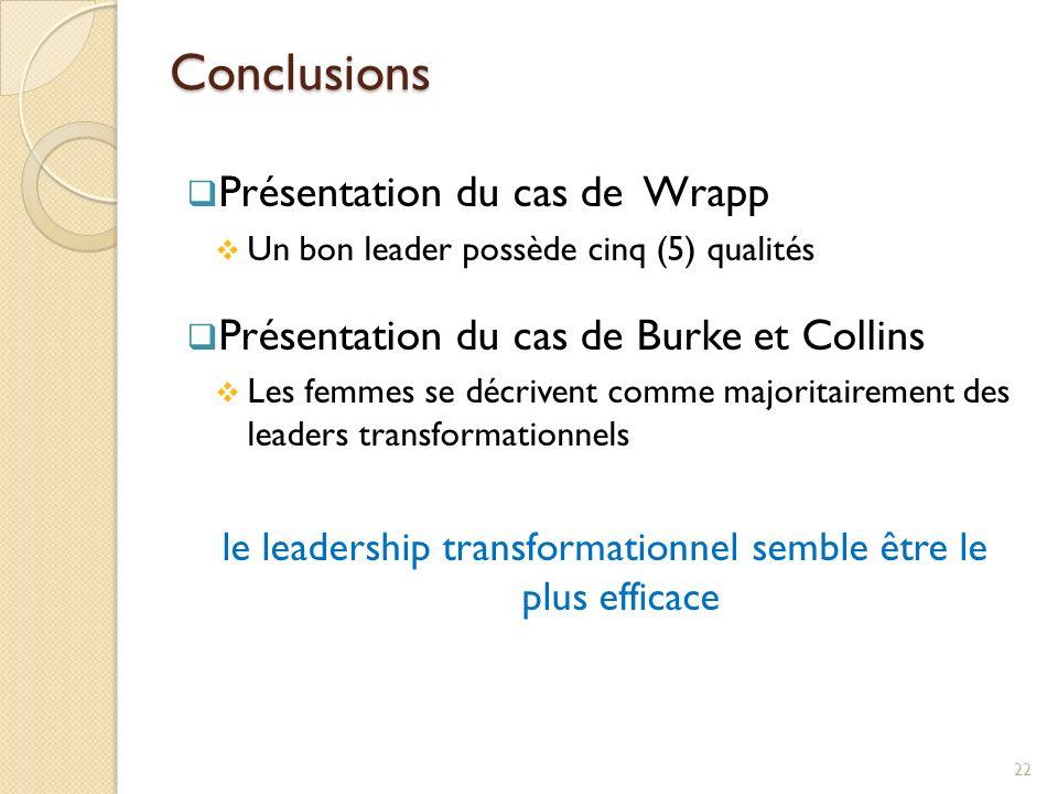 le leadership transformationnel semble être le plus efficace