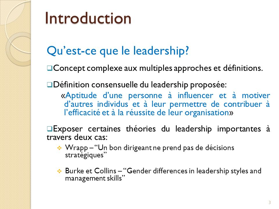 Introduction Qu'est-ce que le leadership
