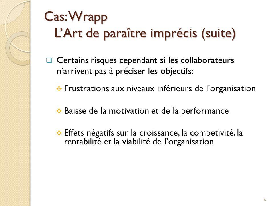 Cas: Wrapp L'Art de paraître imprécis (suite)
