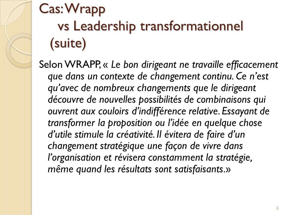 Cas: Wrapp vs Leadership transformationnel (suite)