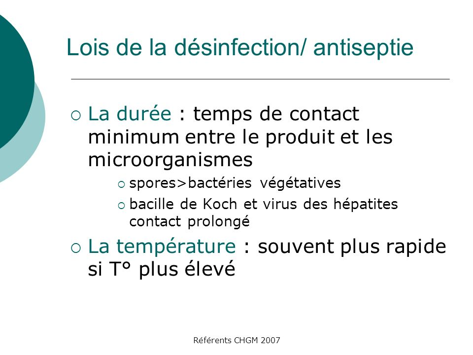 Lois de la désinfection/ antiseptie