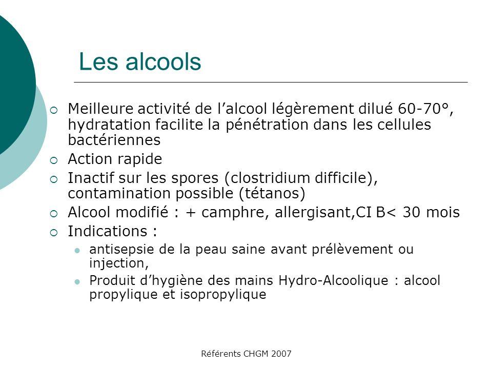 Les alcools Meilleure activité de l'alcool légèrement dilué 60-70°, hydratation facilite la pénétration dans les cellules bactériennes.