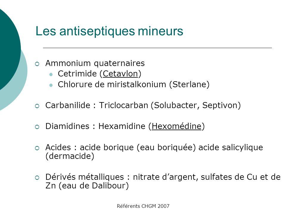 Les antiseptiques mineurs