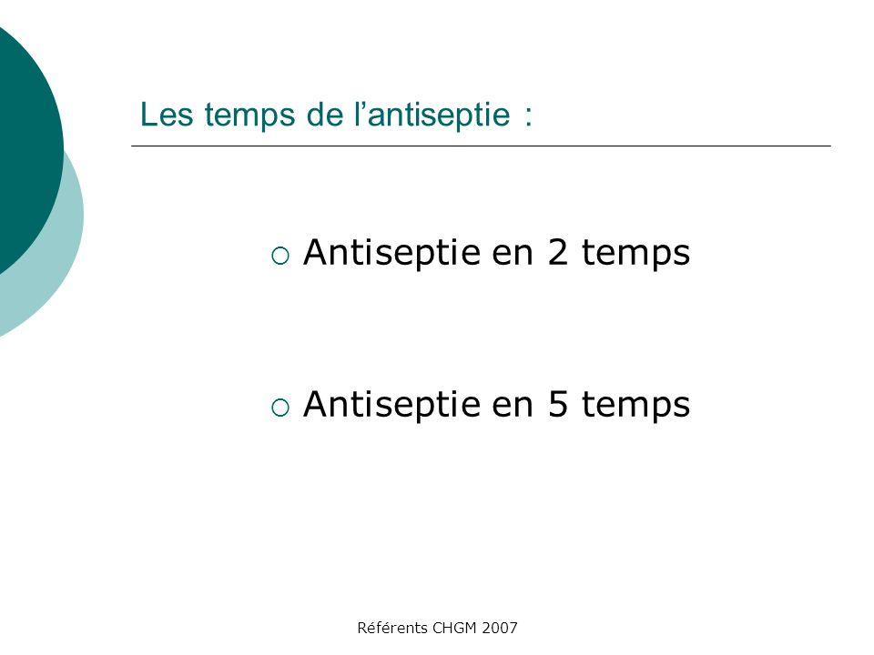 Les temps de l'antiseptie :