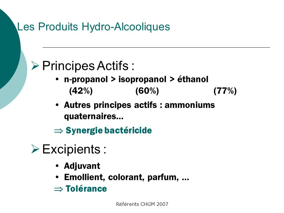 Principes Actifs : Excipients : Les Produits Hydro-Alcooliques
